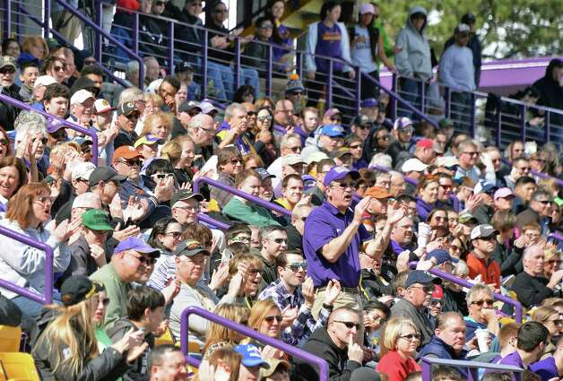 Fans cheer UAlbany's lacrosse team during Saturday's game against Maryland-Baltimore County at Bob Ford Field April 25, 2015 in Albany, NY.  (John Carl D'Annibale / Times Union) Photo: John Carl D'Annibale / 00031590A