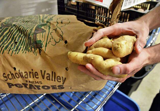 Locally grown potatoes at Capital Roots' new Urban Grow Center on River St. Thursday April 16, 2015 in Troy, NY.  (John Carl D'Annibale / Times Union) Photo: John Carl D'Annibale / 00031447A