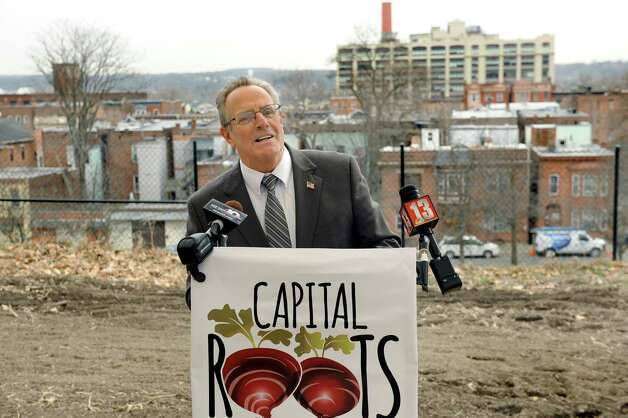 Mayor Lou Rosamilia speaks during a news conference during National Public Health Week on Wednesday, April 8, 2015, at Capital Roots in Troy, N.Y. (Cindy Schultz / Times Union) ORG XMIT: MER2015040816361102 Photo: Cindy Schultz / 00031348A