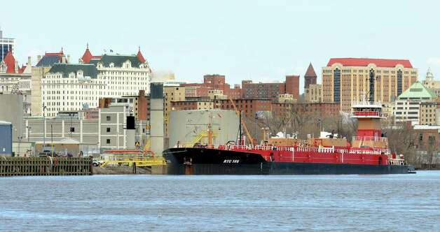 Dean Reinauer tugboat and barge on the Hudson River on Tuesday, April 14, 2015, at the Port of Albany in Albany, N.Y. (Cindy Schultz / Times Union) Photo: Cindy Schultz / 00031394A