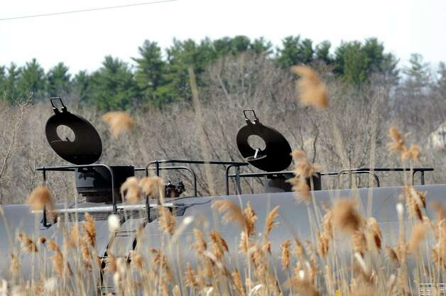 Oil trains with top vent open on Tuesday, April 14, 2015, at the Port of Albany in Albany, N.Y. (Cindy Schultz / Times Union) Photo: Cindy Schultz / 00031394A