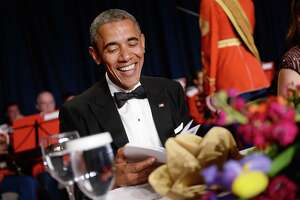 WASHINGTON, DC - APRIL 25:  US President Barack Obama smiles at the annual White House Correspondent's Association Gala at the Washington Hilton hotel April 25, 2015 in Washington, D.C. The dinner is an annual event attended by journalists, politicians and celebrities. (Photo by Olivier Douliery-Pool/Getty Images) ORG XMIT: 550931215
