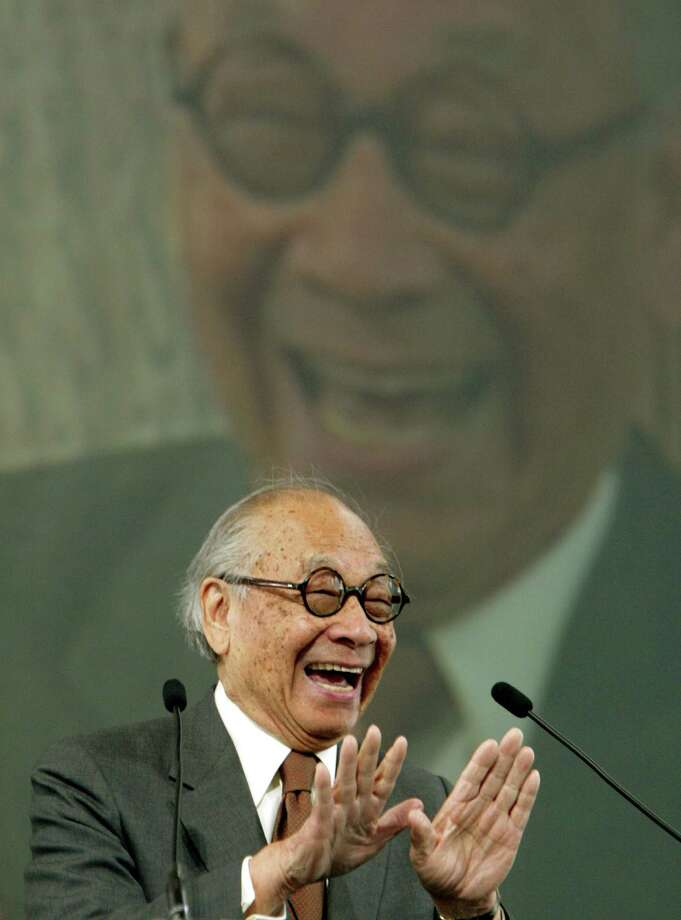 Architect I.M. Pei gestures as he speaks after receiving a 2004 Ellis Island Family Heritage award Wednesday, April 21, 2004, at Ellis Island in New York. Pei, born in China, came to America from Shanghai in 1935 to attend the Massachuesetts Institute of Technology. He entered the United States aboad the S.S. Preisdent Coolidge from San Francisco.  Ellis Island was the main East Coast entry point for immigrants from 1897 and 1938.(AP Photo/Kathy Willens) Photo: KATHY WILLENS / AP