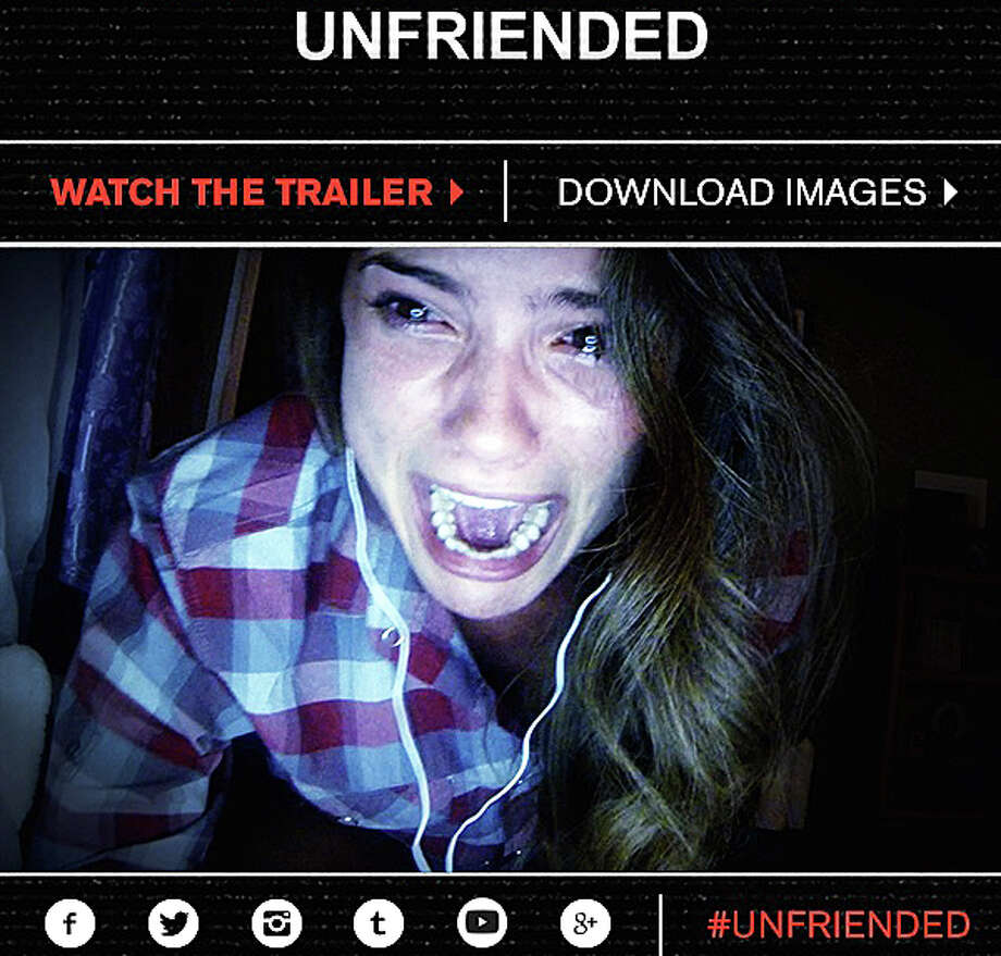 "A cyber-stalker brings terror to a group of teens in ""Unfriended,"" a new movie told entirely through the perspective of laptop screens and text messages. Photo: Contributed Photo / Westport News"