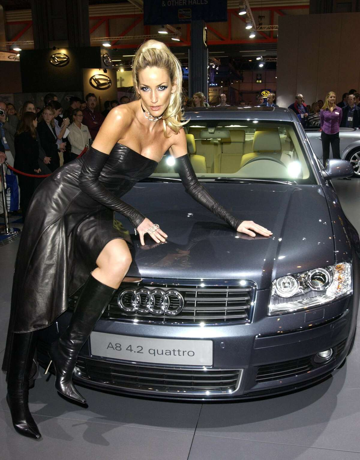 Society model Lisa Butcher launches the new Audi A8 at the NEC Motor Show in Birmingham on November 10, 2002.