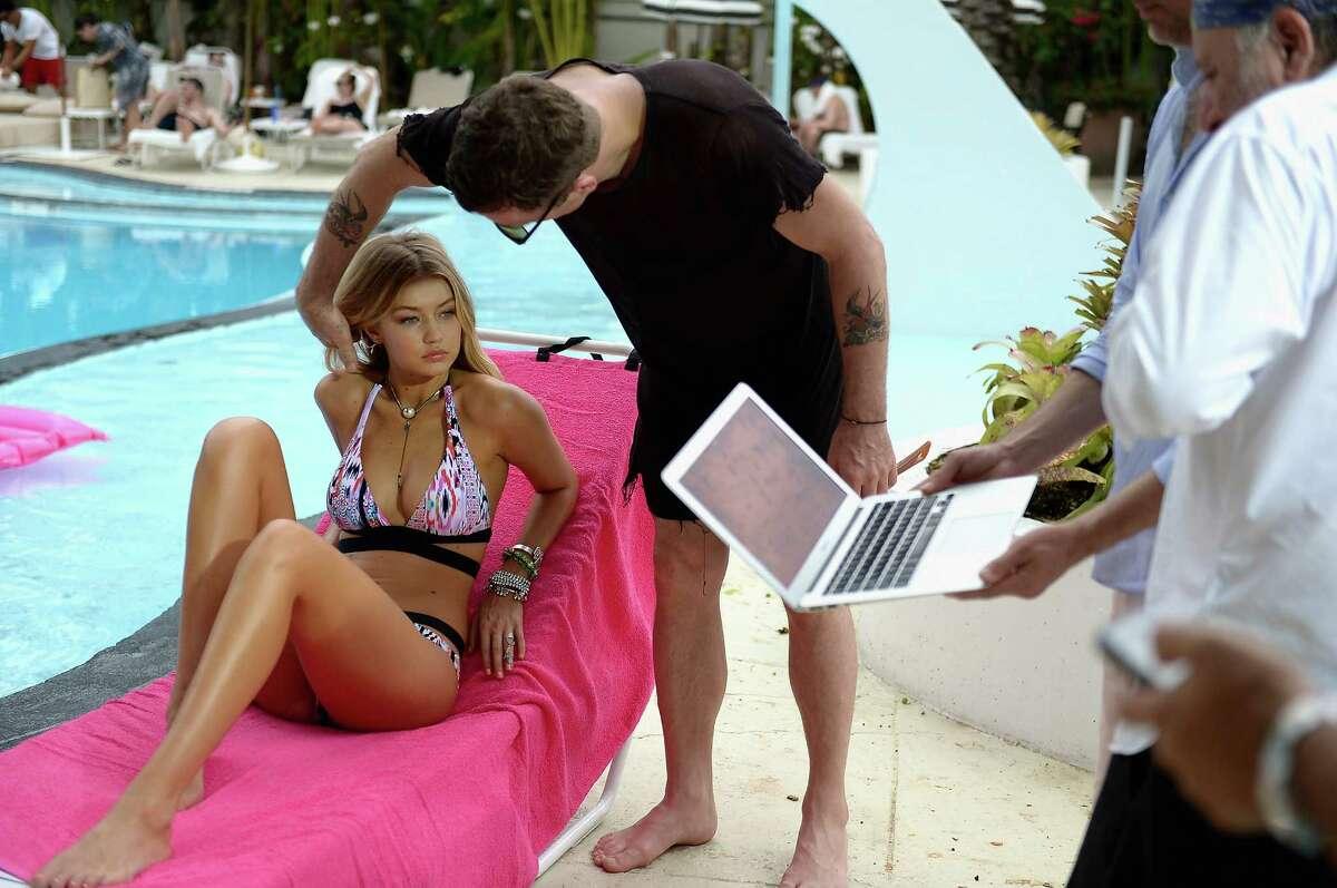Gigi Hadid shooting for Seafolly Australia on April 23, 2015 in Miami Beach, Florida.