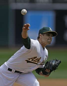 Oakland Athletics pitcher Kendall Graveman works against the Houston Astros in the first inning of a baseball game Saturday, April 25, 2015, in Oakland, Calif. (AP Photo/Ben Margot)