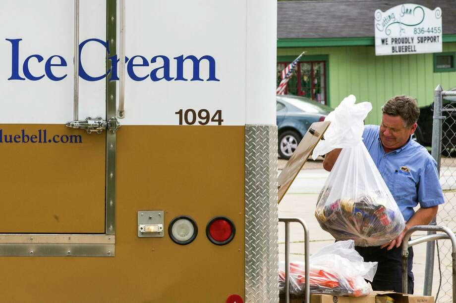 A Blue Bell Creameries employee loads recalled ice cream into a truck after picking it up from a  store in April in Brenham Blue Bell has recalled all of its products due to Listeria outbreak. Photo: Smiley N. Pool /Associated Press / The Dallas Morning News