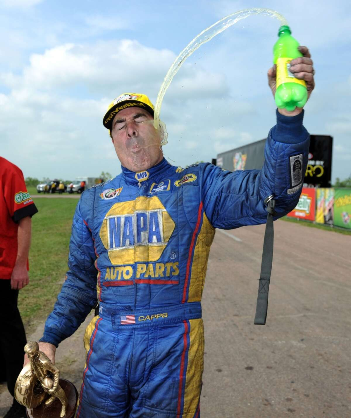 Ron Capps celebrates his funny car victory in the NHRA O'Reilly Auto Parts Spring Nationals, Sunday, April 26, 2015, at Royal Purple Raceway in Baytown, TX. (Eric Christian Smith/For the Chronicle)