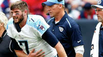 The top of the first round of the draft could swing on a sixth-round pick from 2014, as Titans coach Ken Whisenhunt, right, has to decide if he has enough faith in Zach Mettenberger (7) or prefers Marcus Mariota as the team's solution at quarterback.