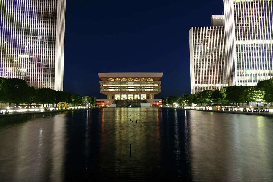 "Reader David Carroll of Albany submitted this photo to timesunion.com. He said he wanted to ""show the beauty of Albany lit up at night"" when he snapped this shot of the Empire State Plaza at night."