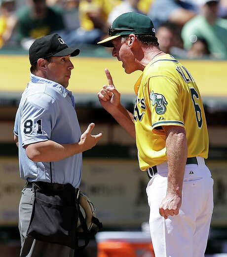 A frustrating weekend for the A's, in which they were swept by the Astros, came to an early end for Oakland manager Bob Melvin, who was ejected by home-plate umpire Quinn Wolcott in the fourth inning for disputing a pitch called a ball. Photo: Ben Margot, STF / AP