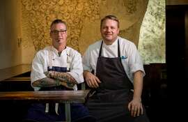 Executive Chef Jean-Claude Balek, left, and Chef de Cuisine Yancy Windsperger at  La Taberna in Napa, Calif., is seen on April 16th, 2015.
