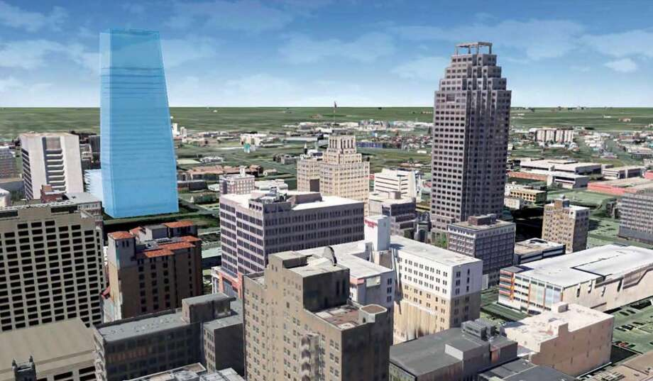 Rendering  shows what a new office tower — proposed by Weston Urban — would look like in context of the rest of downtown. The actual tower has not been designed. Photo: Weston Urban, Courtesy