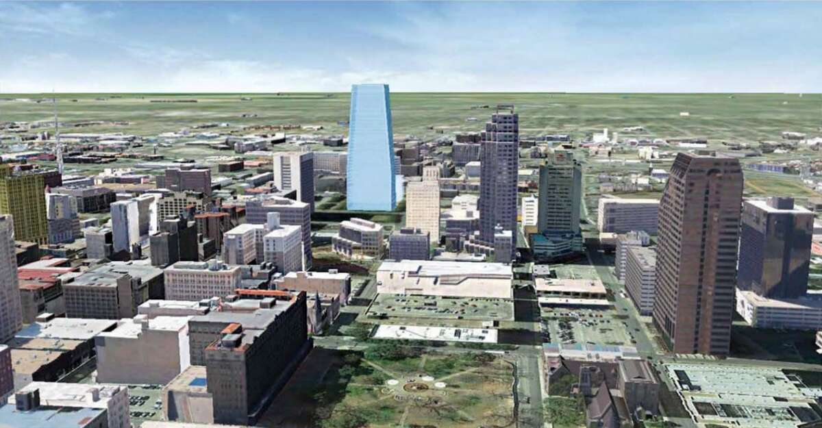 Rendering shows what a new office tower proposed by Weston Urban would look like in context of the rest of downtown. The actual tower has not been designed.