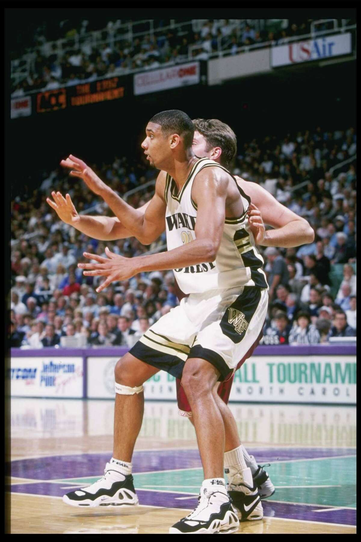 In 1997 while at Wake Forest, Duncan played in the Nike Uptempo Max 3.