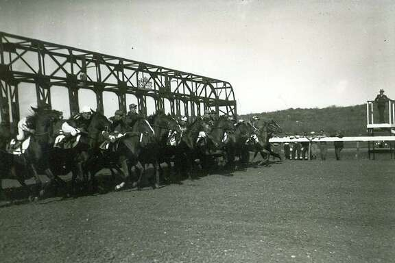 Horses and their riders spring from the starting gates at Alamo Downs in this undated photo.