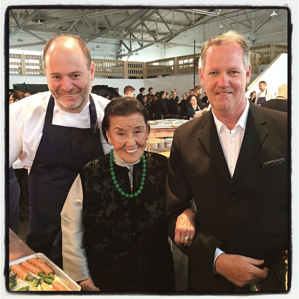 Chef Michael Tusk (left) with gala founder, chef Cecilia Chiang and ifonly.com Culinary Director Michael Murphy at the MOW Gala. April 2015. By Catherine Bigelow.