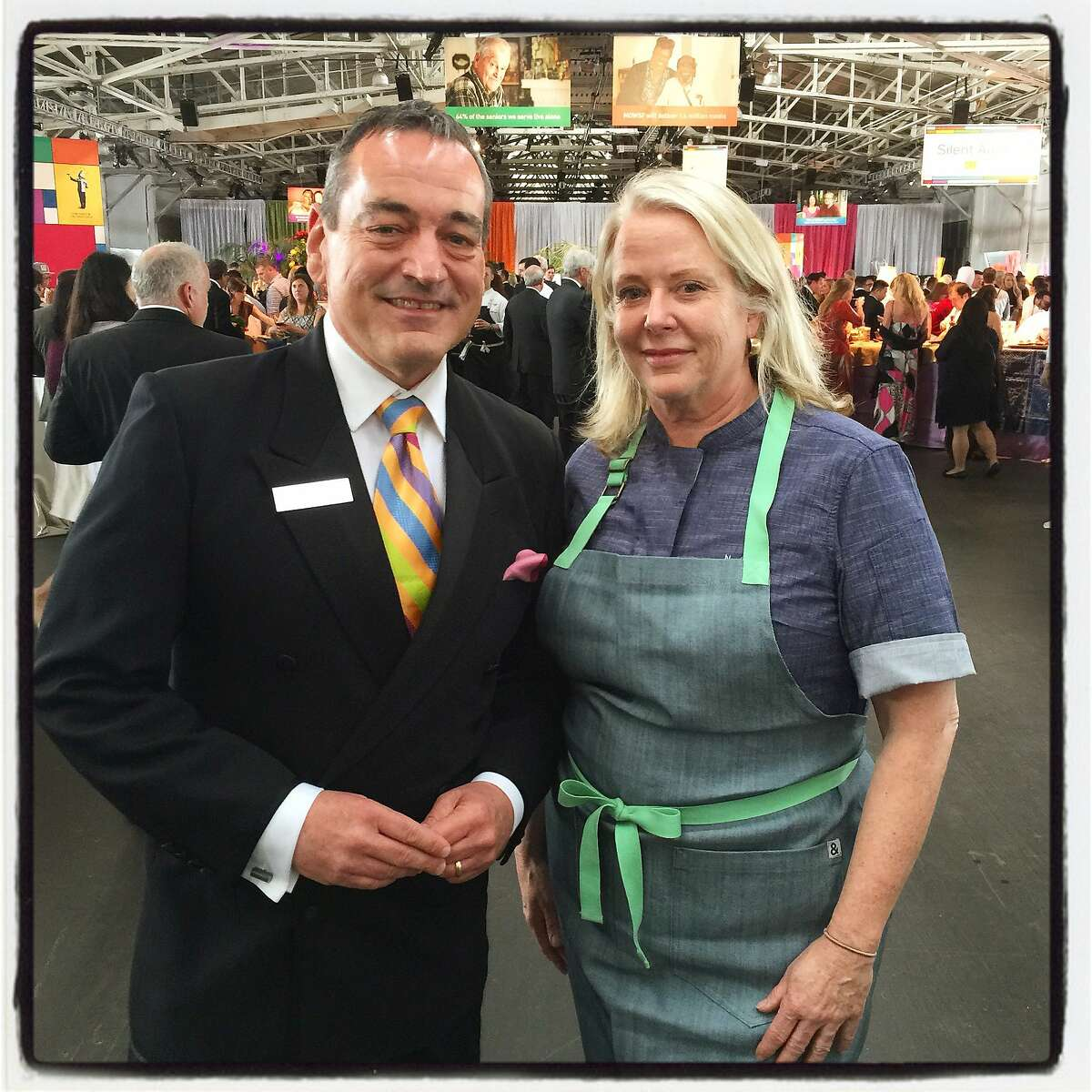 Meals on Wheels CEO Ashley McCumber and Chef Nancy Oakes at the Star Chefs and Vintners Gala. April 2015. By Catherine Bigelow.