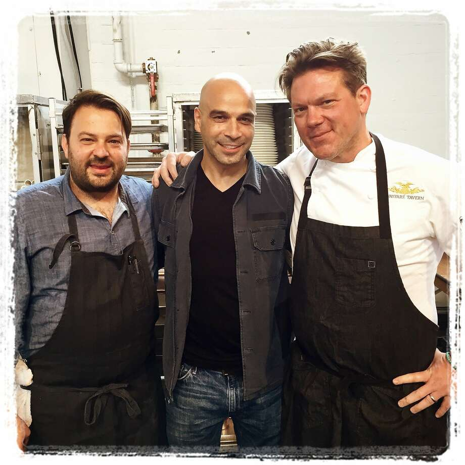 Meals on Wheels Gala chefs (from left) Stuart Brioza, Mourad Lahlou and Tyler Florence at Fort Mason Center. April 2015. By Catherine Bigelow Photo: Catherine Bigelow, Special To The Chronicle