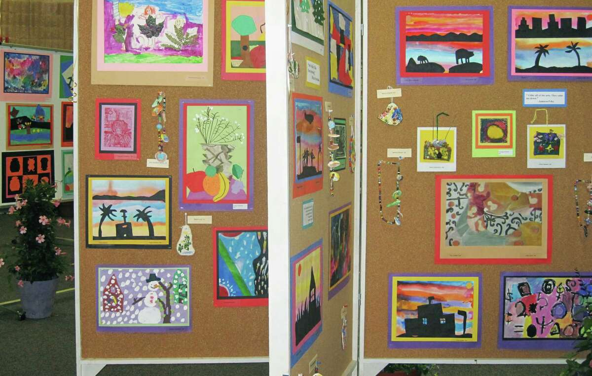 More than 1,000 pieces of two- and three-dimensional creativity by every student artist from grades pre-kindergarten to eighth will be displayed soon as Sherman School offers its annual art show at the school. Above is a panoramic of artwork dispayed during the 2014 show. May 2015 Courtesy of Sherman School