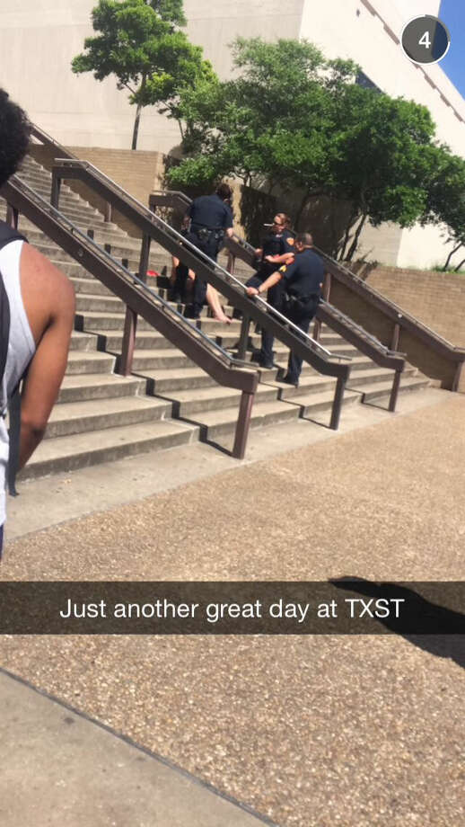 The sight of a nearly naked, blindfolded student outside the Texas State University library created a social media buzz within the Bobcat community. Monika Rostvold wore nothing but a nude-colored thong and pasties for an art project focusing on the objectification of women. Photo: Twitter
