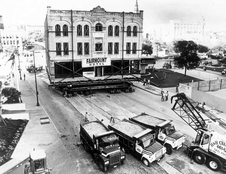 Moving the Fairmount Hotel in 1985 took six days and. Photo: Courtesy SA Conservation Society
