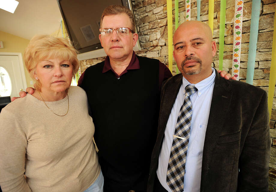 From left; Pam and Carl Stenger, of Beacon Falls, whose daughter Kristin and family work as missionaries in Nepal, and Nepal native Pramod Kandel, of Shelton, at Kandel's Baingan Restaurant in Shelton, Conn. on Monday, April 27, 2015. All are concerned after a 7.9 magnitude earthquake rocked the country on Saturday. Photo: Brian A. Pounds / Connecticut Post