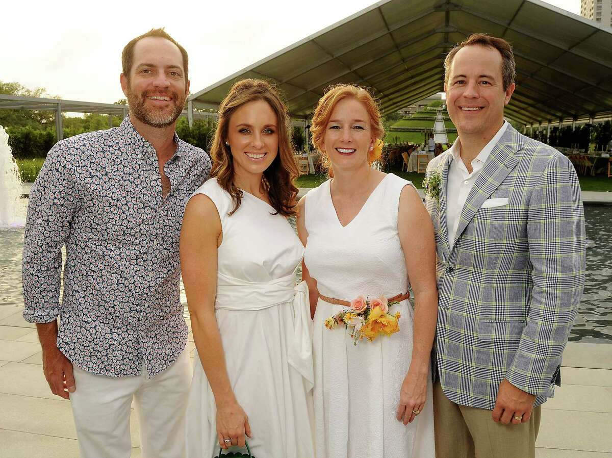 """From left: Chairs Jeremy Radcliffe, Linsay Radcliffe Allison Thacker and Troy Thacker at the Hermann Park Conservancy's """"Evening in the Park"""" Gala at the McGovern Centennial Gardens Friday April 24, 2015.(Dave Rossman photo)"""