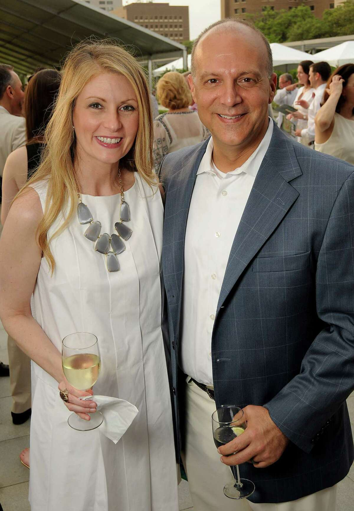 """Kimberly and Dr. Mark Chassay at the Hermann Park Conservancy's """"Evening in the Park"""" Gala at the McGovern Centennial Gardens Friday April 24, 2015.(Dave Rossman photo)"""