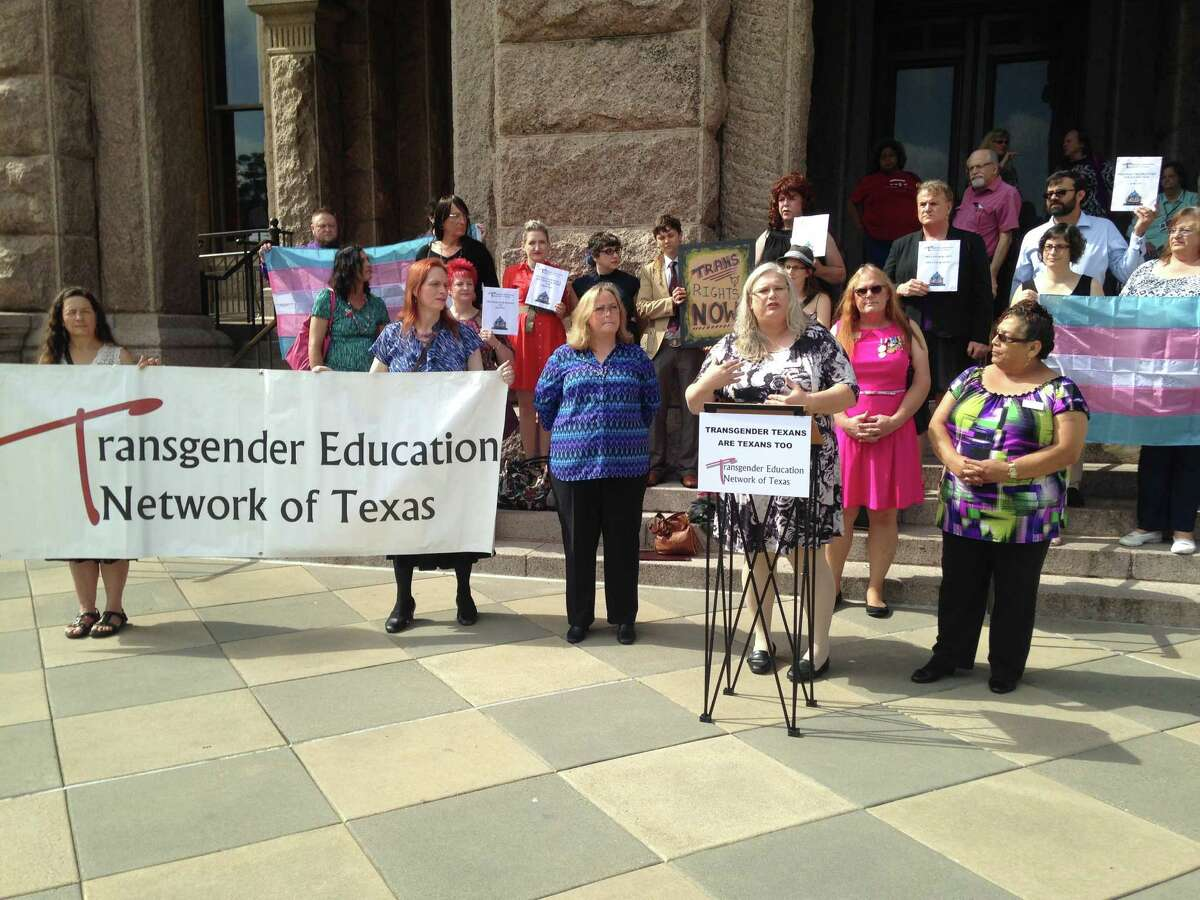 About two dozen transgender Texans gathered at the Texas state capital in Austin Monday, April 27, 2014.