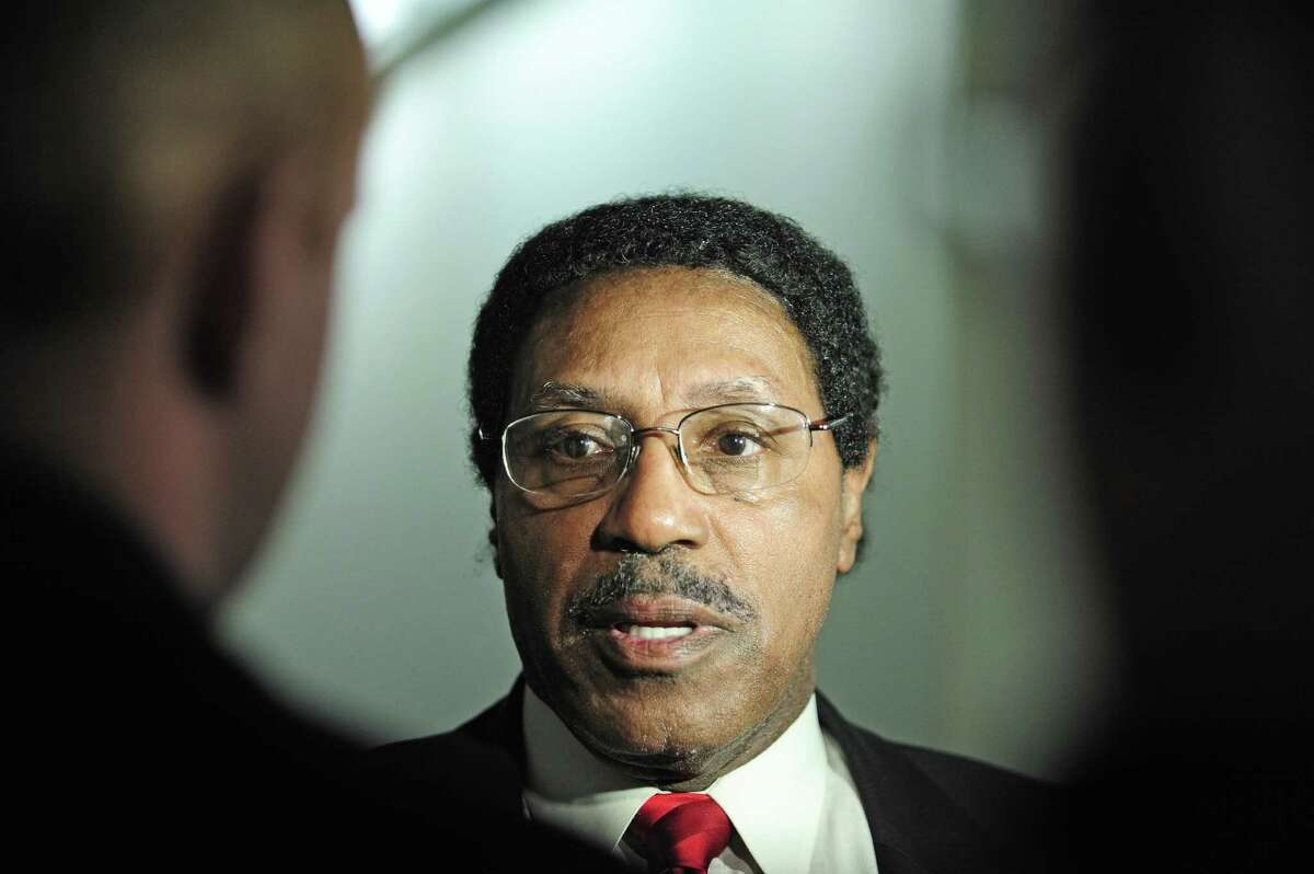 Assemblyman William Scarborough talks to members of the press outside his office in the Legislative Office Building on Wednesday, March 26, 2014, in Albany, N.Y. The FBI is investigating Scarborough. (Paul Buckowski / Times Union) ORG XMIT: MER2014032614512433