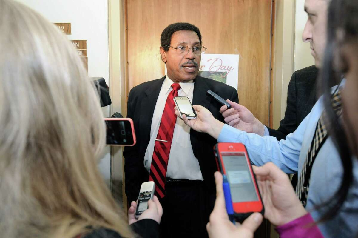 Assemblyman William Scarborough talks to members of the press outside his office in the Legislative Office Building on Wednesday, March 26, 2014, in Albany, N.Y. The FBI is investigating Scarborough. (Paul Buckowski / Times Union archive)