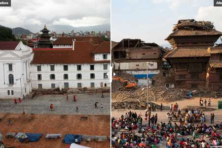 Before and after the earthquake in Nepal.