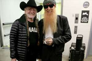 AUSTIN, TX - DECEMBER 31:  Willie Nelson (L) and Billy Gibbons pose back stage on New Years Eve at ACL Live on December 31, 2014 in Austin, Texas.  (Photo by Gary Miller/Getty Images)