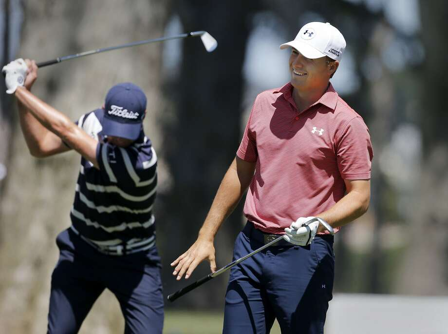 Masters winner Jordan Spieth smiled as he worked the driving range. A practice round for PGA Tour's Match Play Championship at Harding Park was held Monday April 27, 2015 in San Francisco, Calif. Photo: Brant Ward, The Chronicle
