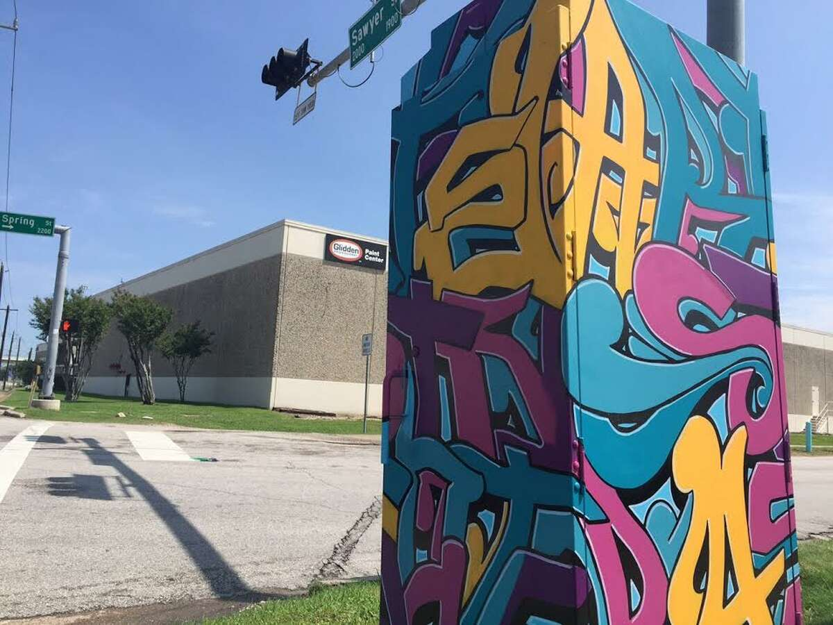 The painted electrical box at Spring and Sawyer is a protoype of what will appear in late May throughout District K, courtesy a mini-mural project put together by Noah and Elia Quiles, of Up Art Studio.