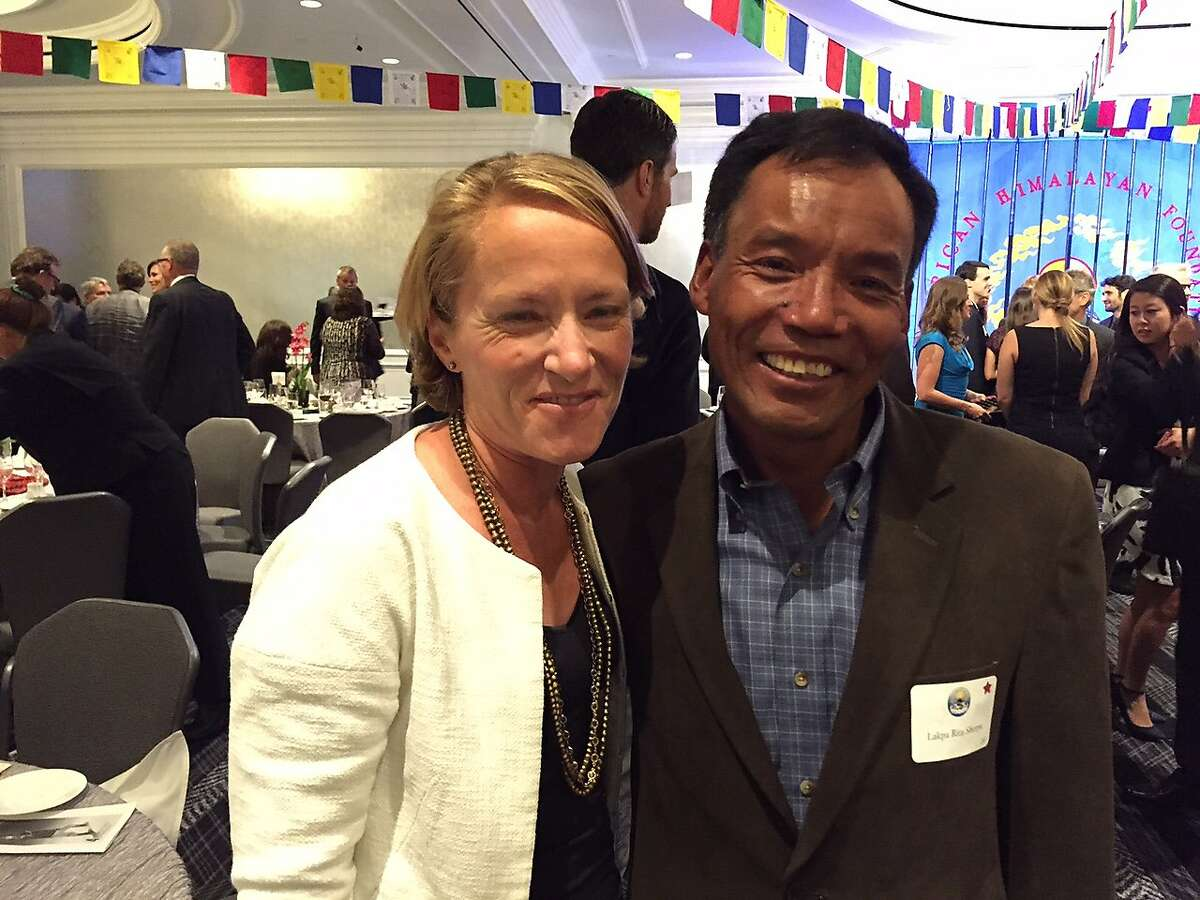 Siobhan McFeeney of San Francisco (left), pictured with Sherpa senior guide Lakpa Rita, survived the avalanches on Mount Everest that followed an earthquake on April 25, 2015.
