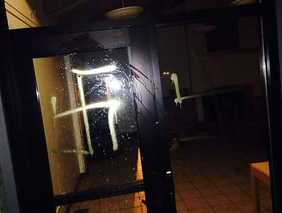 Swastikas were discovered on the Stanford University campus on Sunday, April 26, 2015. Photo: Miriam Pollock, The Stanford Review