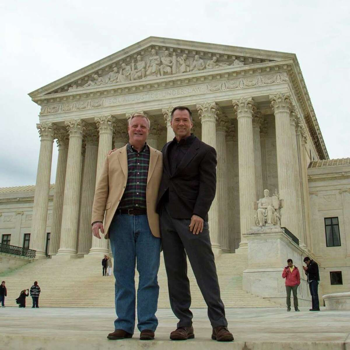 Mark Phariss and Victor Holmes, two of the four plaintiffs in the case challenging Texas' gay marriage ban, stand in front of the U.S. Supreme Court just days before the justices take up the issue of same-sex marriage.