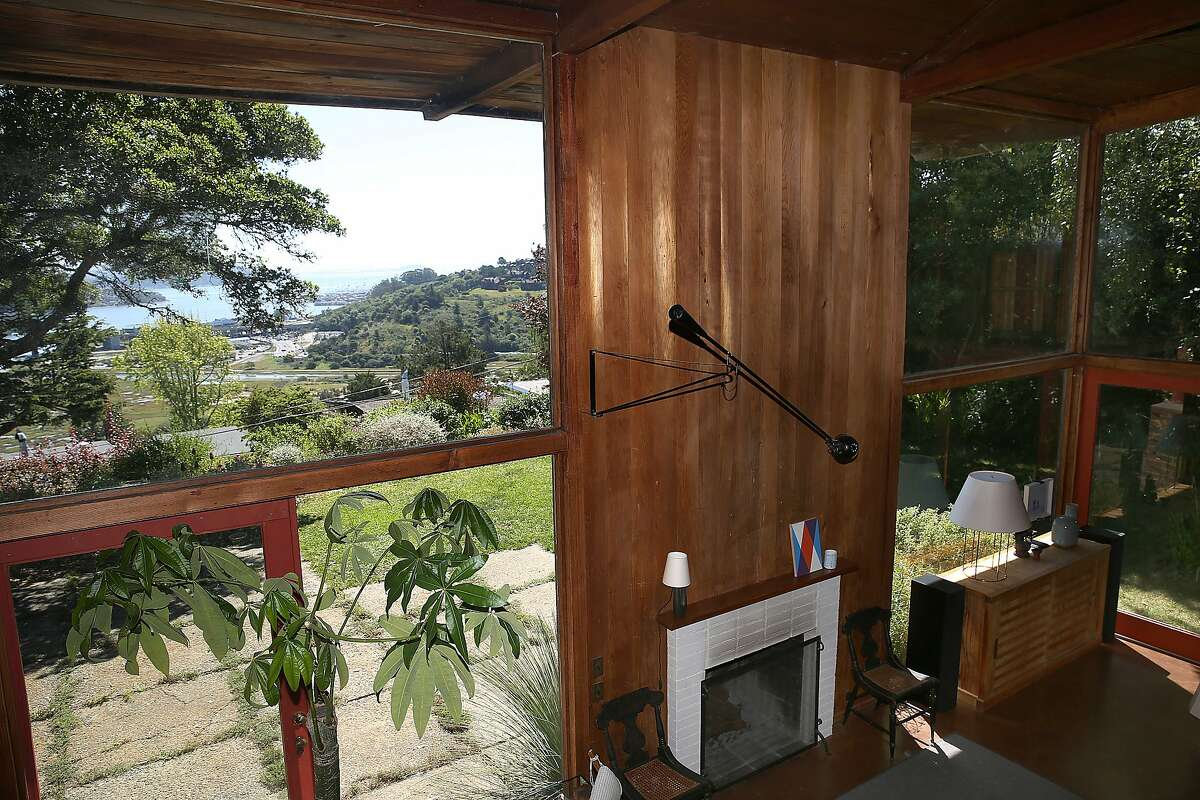 A view of the bay and living room seen from the second floor of the home of Charles de Lisle in Mill Valley, California, on Monday, April 27, 2015.