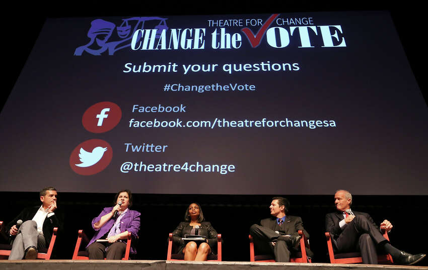 Former state Rep. Mike Villarreal (from left), former state Sen. Leticia Van de Putte, Mayor Ivy Taylor, mayoral candidate Paul Martinez, and former Bexar County Commissioner Tommy Adkisson participate in the Change the Vote Mayoral Forum held Monday April 27, 2015 at the Tobin Center for the Performing Arts.
