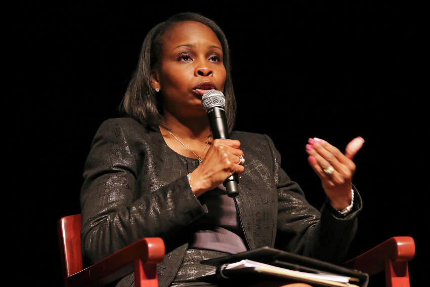 Mayor Ivy Taylor speaks during the Change the Vote Mayoral Forum held Monday April 27, 2015 at the Tobin Center for the Performing Arts.
