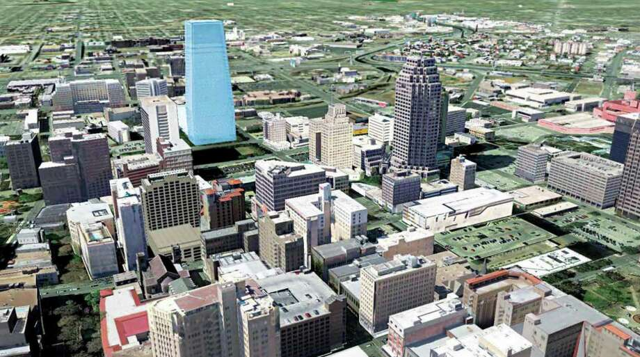 This rendering shows the office tower proposed by Weston Urban in context to the rest of downtown. The design phase will start if the plan is approved by the City Council. Photo: Courtesy Weston Urban / Weston Urban