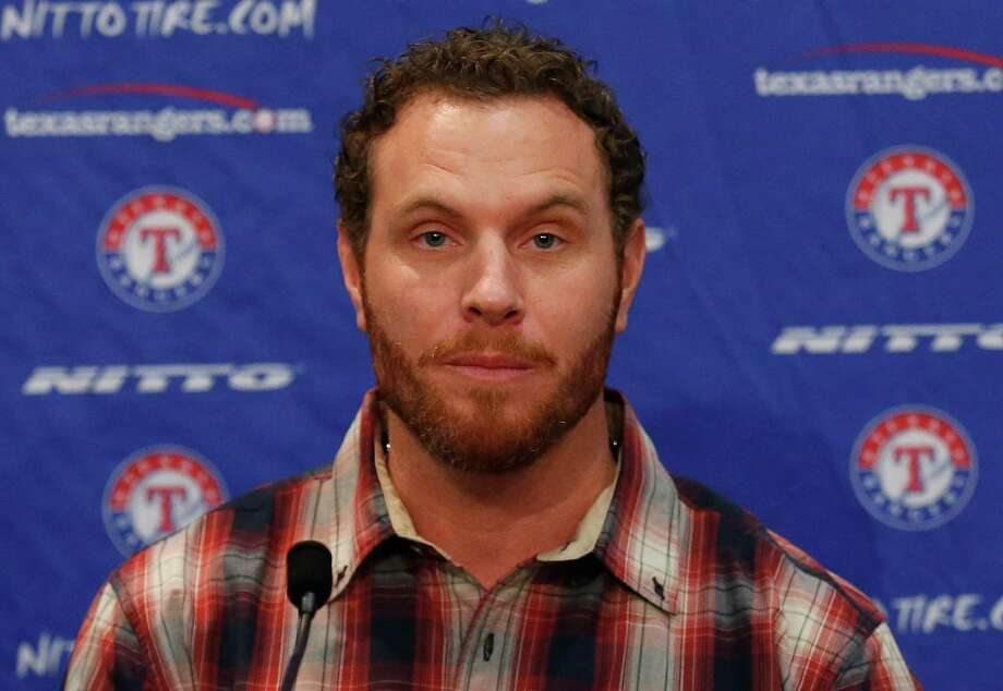 ARLINGTON, TX - APRIL 27:  Josh Hamilton, outfielder for the Texas Rangers, talks with the media at Globe Life Park on April 27, 2015 in Arlington, Texas. Hamilton was acquired from the Los Angels in exchange for a player to be named later or cash considerations.  (Photo by Tom Pennington/Getty Images) ORG XMIT: 551544185 Photo: Tom Pennington / 2015 Getty Images