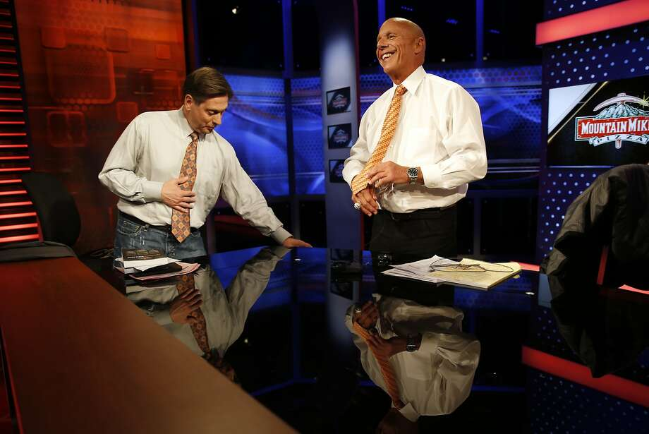 Former San Francisco Giants' coach Tim Flannery and Greg Papa after Giants' pre-game show on Comcast Sportsnet Bay Area in San Francisco, Calif., on Monday, April 27, 2015. Photo: Scott Strazzante, The Chronicle