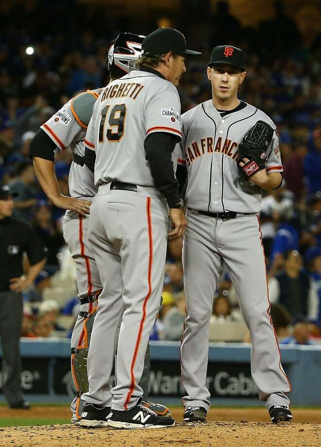 LOS ANGELES, CA - APRIL 27:  Pitching coach Dave Righetti #19 of the San Francisco Giants talks to pitcher Tim Lincecum #55 at the mound in the third inning during the MLB game against the Los Angeles Dodgers at Dodger Stadium on April 27, 2015 in Los Angeles, California.  (Photo by Victor Decolongon/Getty Images) Photo: Victor Decolongon, Getty Images
