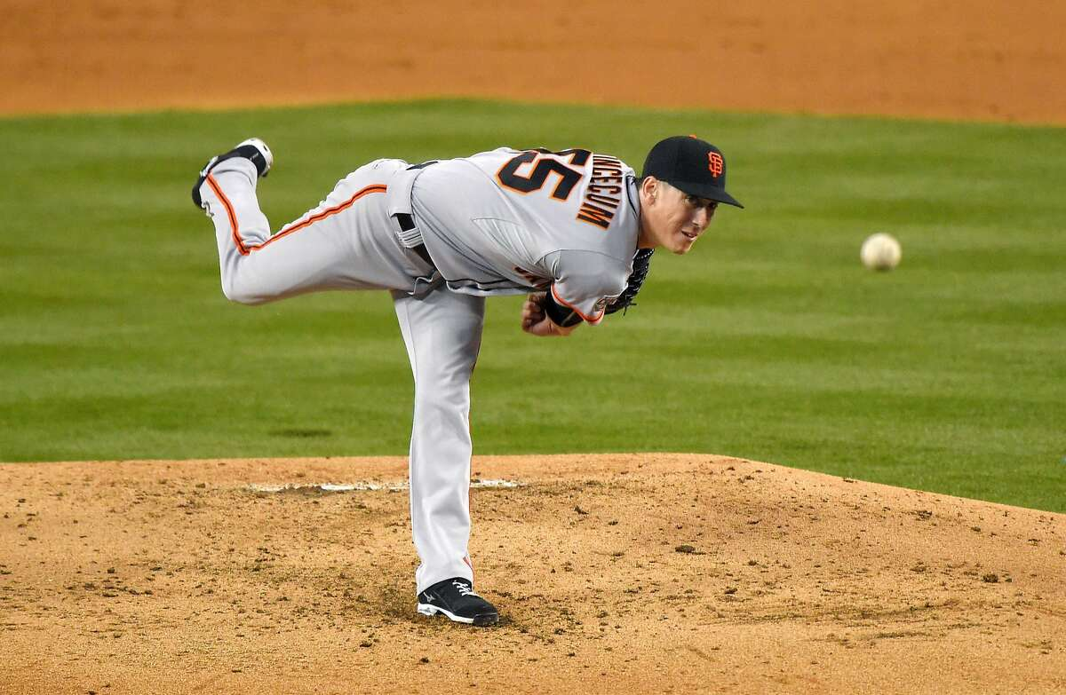 San Francisco Giants starting pitcher Tim Lincecum throws to the plate during the second inning of a baseball game against the Los Angeles Dodgers, Monday, April 27, 2015, in Los Angeles.