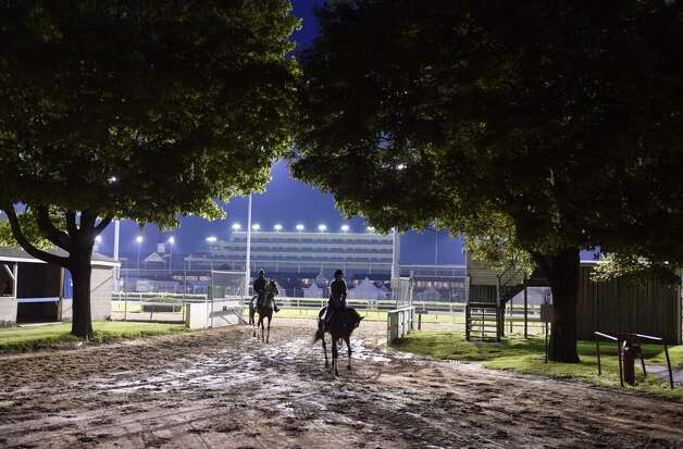 It's a beautiful morning at Churchill Downs. Horses were on the track for practice before the sun was up. (Skip Dickstein / Times Union)