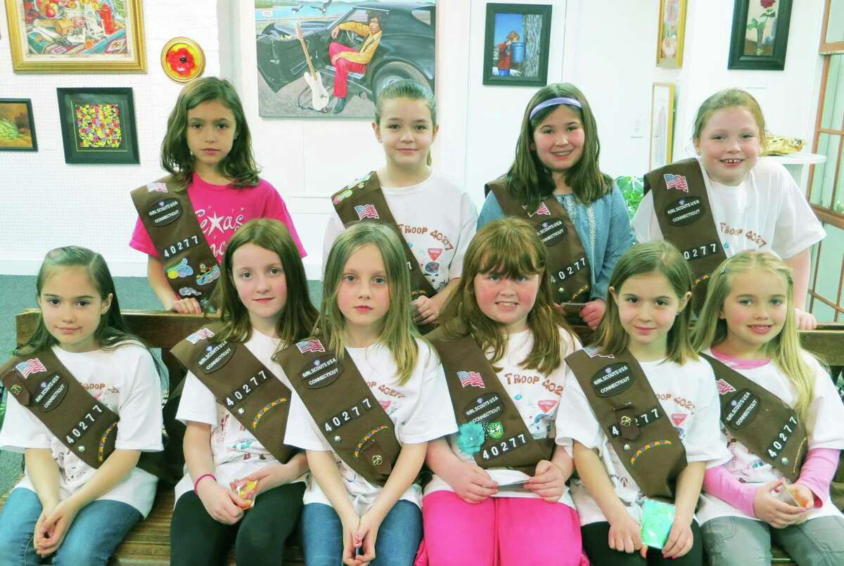 Enjoying their recent visit to Gallery 25 and Creative Arts Studio in New Milford are, from left to right, front row, Miranda Robinson-Lisee, Kendyll Humiston, Meadow Hall, Emma Kavahaugh, Sophia Gardineer and Haley Piper, and, back row, Kylie Cuomo, Chloe Hallock, Lauren Gesvaldi and Adriana Fairchild of New Milford Brownie Troop 40277. Courtesy of Gallery 25